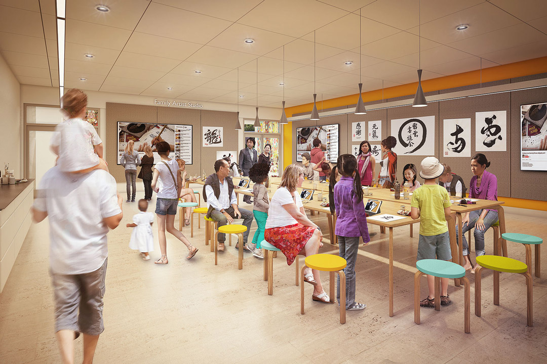 Rendering of new art studio and education space